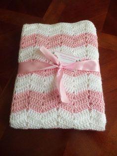 Crochet Baby Blanket Pink and White Chevron $44.99
