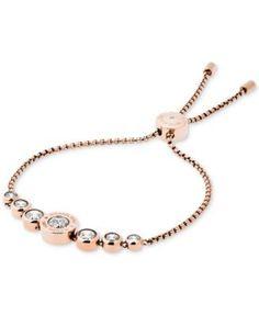 Michael Kors Silver-Tone Crystal Slider Bracelet