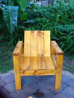 Here is a close up of the chair that was built out of pallets.