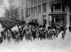 March in Lawrence, MA. Notice the first line of child workers. 1912