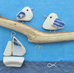 Handmade Framed Seagulls & Boat. Beach Art Made from Beach Pottery and Driftwood. Pebble, Seaside, Beach Art. East Neuk of Fife, Scotland UK by EastNeukBeachCrafts on Etsy https://www.etsy.com/listing/501697928/handmade-framed-seagulls-boat-beach-art
