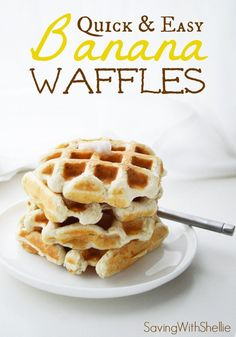 Oh-So-Easy Banana Waffles. Options to make them #Vegan and #GlutenFree. Make them in bulk and freeze. Then pull them out for a quick & easy breakfast on the go!