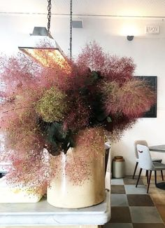 The impressive floral arrangement is made from Smoked bush branches. Deco Floral, Arte Floral, Floral Design, Dried Flowers, Beautiful Flowers, Plantation, Ikebana, Indoor Plants, House Plants