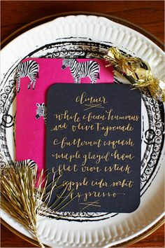 Hand calligraphy menu cards with patterned backing. New Year's Eve dinner menu // love the backing! New Year's Eve Dinner Menu, New Years Eve Dinner, Wedding Event Planner, Wedding Menu, Wedding Paper, Wedding Ideas, Wedding Receptions, Wedding Table, Holiday Cocktails