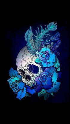 Floral Skull Tattoos, Blue Rose Tattoos, Pink Skull, Sugar Skull Art, Skull Wallpaper, Dark Purple Wallpaper, Buddha Tattoo Design, Poster Mural, Stickers