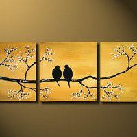 Gold Love Birds Painting, Original LARGE Canvas 36x12, Loving, Romantic, Wedding Gift, Flowers Tree Landscape, ready to hung, Metal Fine Art...