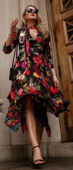// Black floral midi handkerchief dress with puff sleeves and tie-neckline, black leather gold chain strap crossbody bag, black strappy sandal, black large vintage-inspired sunglasses{ #alice+olivia #saks #saintlaurent #nordstrom #sarahflint #lespecs #weddinggueststyle #offdutystyle #classicstyle #boldlip #30dressesin30days #day7 #cocktailattire } Cocktail Wedding Attire, Casual Dresses, Dresses For Work, Church Dresses, Floral Dresses, Nyc Fashion, Fashion Outfits, Wedding Guest Style, Handkerchief Dress