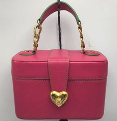 Juicy Couture Pink Green Leather Train Case Cosmetic Bag Box Purse Chain Handle  | eBay
