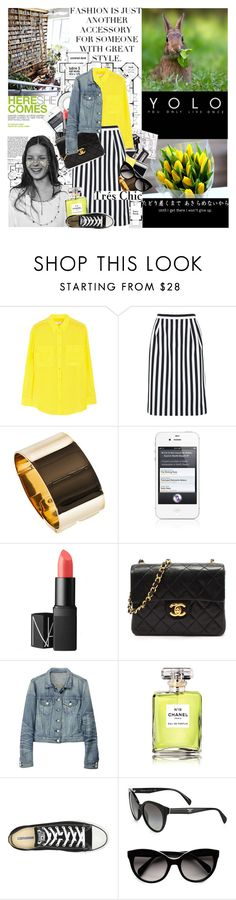 """Kate Moss"" by mars ❤ liked on Polyvore featuring Paige Denim, Andrea, Chanel, Equipment, Marc Jacobs, Emilio Pucci, Cullen, NARS Cosmetics, rag & bone and Converse"