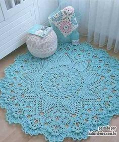 Tapete de Crochê Azul - Katia Ribeiro Crochê Moda e Decoração