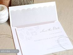 DIRECTIONS FOR ENVELOPE LINER: 1. Purchase light weight paper in a neutral tone and trim to 5.25×6 inches. 2. To create a lace edge, use a doily lace edge punch which you can find at your local craft store. 3. Once trimmed, slide the liner into your envelope.