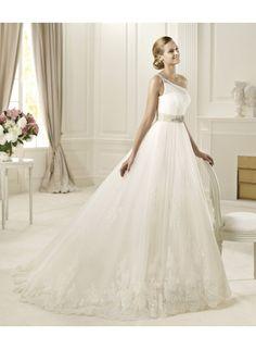 One Shoulder A-line Organza Crystal Chapel Train wedding Dresses WE4432