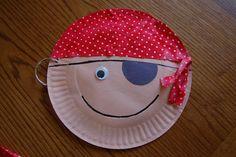 Pirate Paper Plate Craft -- love the earring! #preschool #crafts #pirate