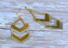Silver and Gold Chevron Earrings by Cheshujewelry on Etsy, $18.00