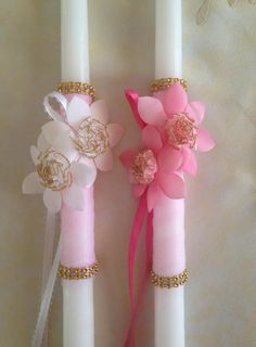 Easter Lambathes-Easter Lambades-Easter Candle Lambades For Girls With Flower-Orthodox Easter Orthodox Easter, Greek Easter, Religious Wedding, Baptism Favors, Palm Sunday, Greek Wedding, Birthday Favors, Spring Crafts, Flower Making