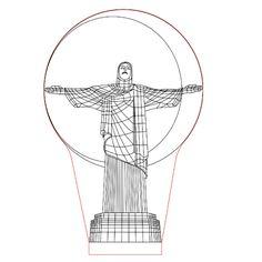 Christ statue 3d illusion lamp plan vector file for CNC - 3bee-studio