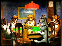 """""""Dogs Playing Poker"""" """"A Friend In Need"""" Cassius Marcellus Coolidge"""