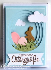 Tunnel card: use nesting oval dies to cut out centers of same-size cards, place images between layers with foam dimensional tape ~ by Kathrin Easter Art, Easter Crafts, Card Making Inspiration, Making Ideas, Arte Van Gogh, Rick E, Karten Diy, Fancy Fold Cards, Marianne Design