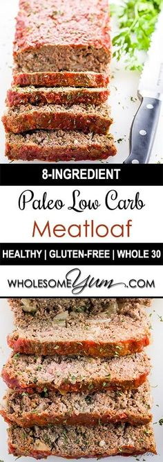 This gluten-free, paleo, low carb meatloaf recipe is super easy to make. You nee. This gluten-free, paleo, low carb meatloaf recipe is super easy to make. You need only 8 ingredients and 10 minutes Low Carb Recipes, Real Food Recipes, Diet Recipes, Cooking Recipes, Cooking Ingredients, Paleo Food, Paleo Recipes Easy, Amish Recipes, Tofu Recipes