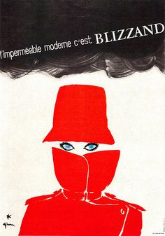 René Gruau Illustration Poster for a lady's raincoat. From Graphis Annual 66/67.