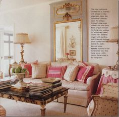 French blue antique Trumeau Mirror in Richmond, Virginia home designed by Suellen Gregory.  (Beautiful Southern Homes Magazine Fall/Winter 2007)