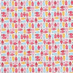 funny white owls fabric Sweet Minis pink-green-yellow by Robert Kaufman kawaii 2