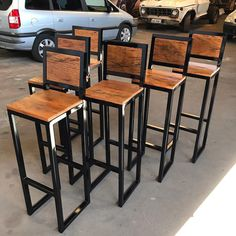 Wood Bar Stools, Iron, Table, House, Furniture, Design, Home Decor, Canning, Store