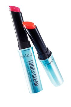 bareMinerals Loud & Clear Lip Sheers (here in Amped Pink and Tangerine Trance) #lipstick