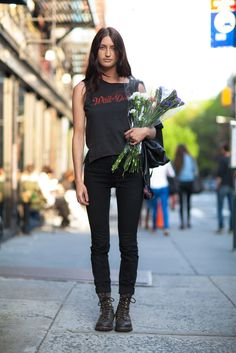 Channel the rocker vibe with a vintage tee and your favorite denim for Summer concerts or maybe just weekend errands. Source: Le 21ème | Adam Katz Sinding