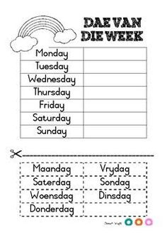 Days of the week in Afrikaans Teaching Resources & Lesson Plans Preschool Learning Activities, Preschool Worksheets, Classroom Activities, Teaching Kids, Teaching Resources, Classroom Themes, Quotes Dream, Life Quotes Love, Robert Kiyosaki