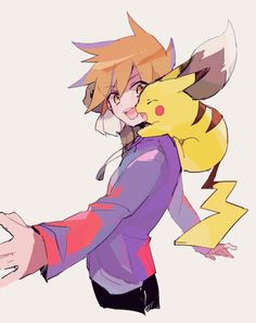 Green/Blue from Pokemon Red and Green/Blue Yellow RGBY with Pikachu and Eevee by たらこのこ on Pixiv Pokemon Red Blue Yellow, Green Pokemon, Pokemon Sun, Pokemon Manga, Pokemon Fan Art, Pokemon Rouge, Takarai Rihito, Pokemon Stories, Pokemon Trainer Red