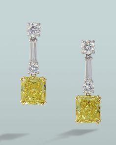 Fancy yellow diamond dangle earrings   Engagement Rings Fine Gemstones Gold Platinum Designer Jewelry