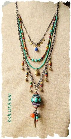 Bohemian Beaded Jewelry Colorful Layered Necklace Modern Source by Bohemian Necklace, Diy Necklace, Bohemian Jewelry, Modern Jewelry, Beaded Jewelry, Handmade Jewelry, Jewelry Necklaces, Layered Necklace, Pearl Necklaces