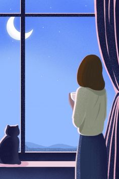 Night At Night Good Night Fresh illustration image Night Illustration, Japon Illustration, Graphic Design Illustration, Digital Illustration, Girl Illustrations, Simple Art, Cute Drawings, Cute Wallpapers, Art Girl