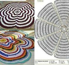 Carpet Crochet, Crochet Mat, Crochet Mandala, Crochet Round, Love Crochet, Filet Crochet, Crochet Circles, Crochet Squares, Diy Crafts Crochet