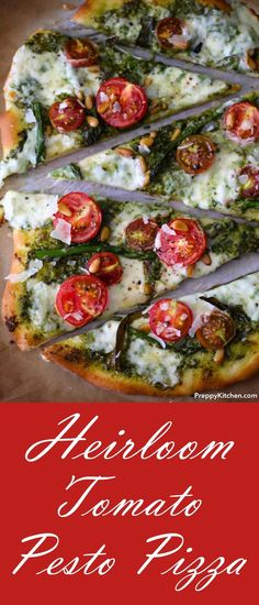 Heirloom Tomato Pesto Pizza via Preppy Kitchen – – wanderlust Pesto Pizza, Tomato Pesto, Tomato And Cheese, Pizza Pizza, Pizza Recipes, Lunch Recipes, Healthy Recipes, Flatbread Recipes, Delicious Recipes