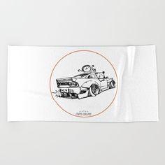 Crazy Car Art 0007 Beach Towel by mame_ozizo Weird Cars, Car Illustration, Kustom Kulture, Beach Towel, Old School, Japanese, Drawings, Artwork, Work Of Art