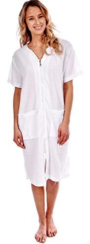 Patricia Women's Robe Short Sleeve Cover-Up Zip-Front with Pockets (White Waffle Weave, XL)