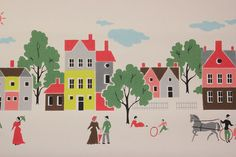 1950s New England Scenic Wallpaper