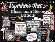 Welcome students to a POWERFUL learning environment!The Superhero Theme Classroom Dcor Bundle includes all six of the Superhero Classroom products for a discounted price!Bundle Includes:-Superhero Accelerated Reader (AR) Points Hanging Chart-Superhero Behavior Chart-Superhero Classroom Jobs-Chart-Superhero Classroom Supply Labels-Superhero Clock Labels-Superhero Classroom BannersGet your classroom ready to welcome your students to their Superhero Headquarters!Please comment and rate.