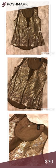 NWOT BKE Sequin Top Size Large, Beautiful brown BKE sequin top with champagne and silver glitter sequins, NWOT 100% Polyester BKE Tops Blouses