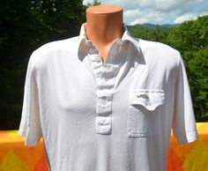 vintage 70s polo golf shirt white DRAGON fire breathing sears pocket Large Medium soft thin 80s