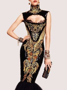 Vogue Japan -- black and gold gown Haute Couture Style, Couture Mode, Couture Fashion, Fashion Details, Love Fashion, High Fashion, Womens Fashion, Fashion Today, Japan Fashion