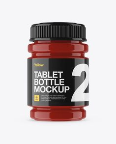 Glossy Pill Bottle Mockup - Front View (Preview)
