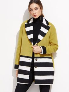 Color Block Single Breasted Wool Blend Coat