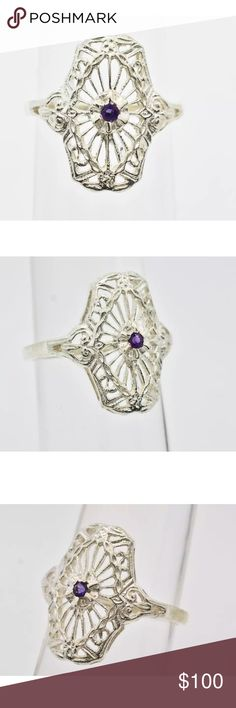 Solid Sterling Silver .10 Amethyst Ring 5 Beautiful vintage ring !  Open to offers:) Main Stone Carat Weight.10ctw TypeGenuine Amethyst ShapeRound Cut ColorPurple ClaritySI Total Carat Weight.10ct North to South15mm Height Above Finger6mm Shank Width1.5mm Finger Size5 Gram Weight2.1 grams MaterialSterling Silver  *Retail Value$699 Additional InfoVintage Inspired   100% Natural Gemstone Jewelry Rings