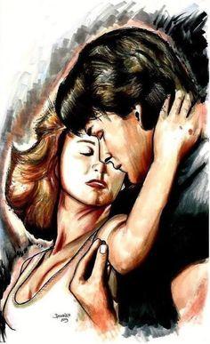 Dirty Dancing, Romantic Films, Drama Free, Patrick Swayze, Idole, Celebrity Drawings, Grey Art, Romance, My Drawings