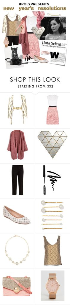 """#PolyPresents New Year's Resolutions"" by e-lux ❤ liked on Polyvore featuring Post-It, Dita Von Teese, Zana Bayne, Sandro, Chicwish, PBteen, Alexander McQueen, Bobbi Brown Cosmetics, Badgley Mischka and Jennifer Behr"