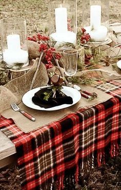 A winter soiree can be both rustic and elegant with plaid, burlap and candlelight.