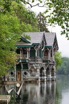 Lake cabin; check out the massive stone fireplaces on this site. Impressive.
